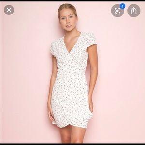 Brandy Melville white rose wrap dress